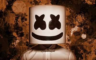 DJ Marshmello, brown paint splashes, superstars, Christopher Comstock, american DJ, Marshmello, music stars, brown grunge background, DJs