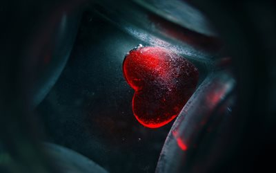 red heart, abstract art, love concepts, creative, darkness, hearts