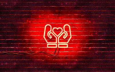 Save Love neon icon, 4k, red background, neon symbols, Save Love, creative, neon icons, Save Love sign, love signs, Save Love icon, love icons, love concepts