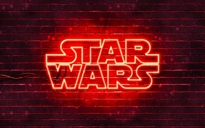 Star Wars red logo, 4k, red brickwall, Star Wars logo, creative, Star Wars neon logo, Star Wars