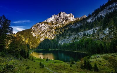mountain lake, mountains, rocks, forest, lake, Bernese Alps, Hinterburgseeli Lake, Oltschiburg Mountain, Switzerland
