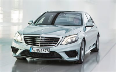 Mercedes-Benz S63 AMG, 2017, W222, 4k, front view, luxury car, silver S-class, German cars, silver W222, Mercedes