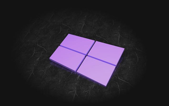 تحميل خلفيات ويندوز 10 4k شعار 3d خلفية رمادية شعار ويندوز