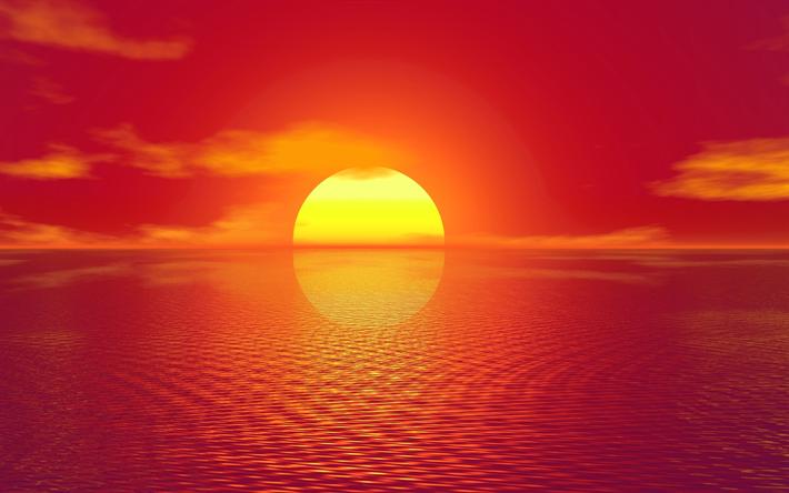 Musiques Inspirantes et Aériennes...................... Thumb2-ocean-sunset-4k-bright-sun-sea
