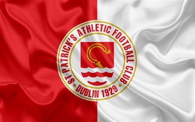 St Patricks Athletic FC, 4K, Irish Football Club, logo, stemma, League of Ireland Premier Division, calcio, Incicor, Irlanda, seta bandiera Irlandese Campionato di Calcio
