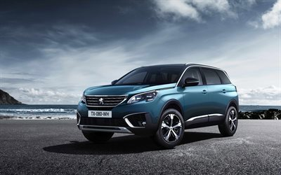 Peugeot 5008, 2017, crossovers, new Peugeot, blue 5008