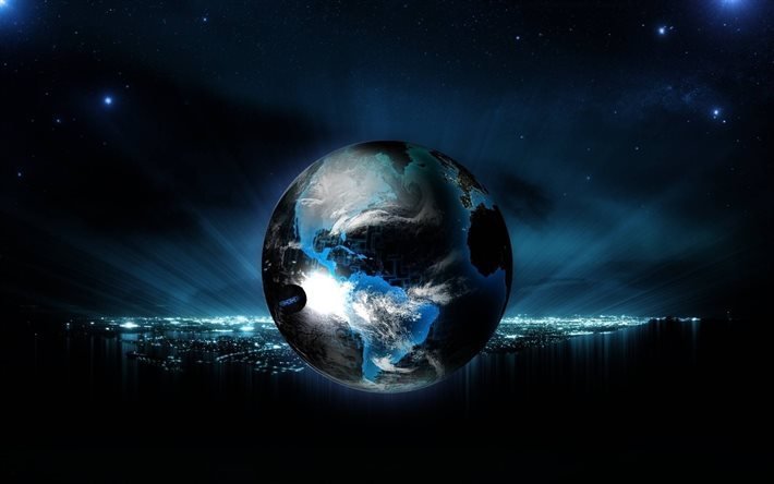globe, earth, night, cityscape