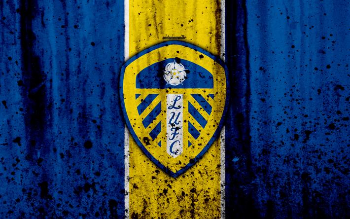 Download Wallpapers 4k, FC Leeds United, Grunge, EFL