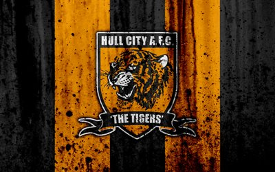 4k, le FC Hull City, grunge, EFL Championnat, l'art, le football, club de football, l'Angleterre, Hull City, le logo, la texture de pierre, Hull City FC