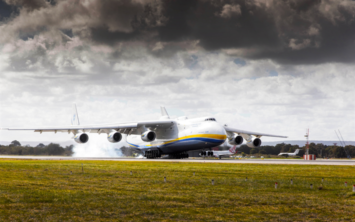 An-225 Mriya, Ukrainian transport aircraft, Ukraine, Antonov, landing, airport, Cossack