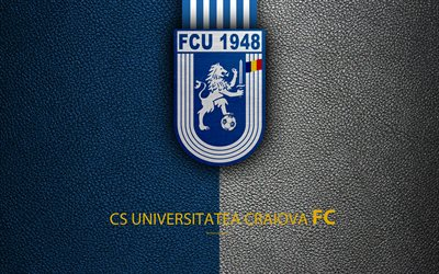 CS Universitatea Craiova, un logo, un cuir à la texture, 4k, club de football anglais, League, Premier League, Craiova, en Roumanie, en football