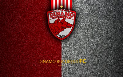 Le FC Dinamo Bucuresti, un logo, un cuir à la texture, 4k, roumain, club de football, la Liga I, Premier League, Bucarest, en Roumanie, en football