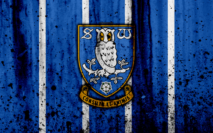 Download Wallpapers 4k, FC Sheffield Wednesday, Grunge