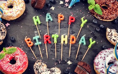 Happy Birthday, lollipops, muffins, sweets, decorations, Birthday