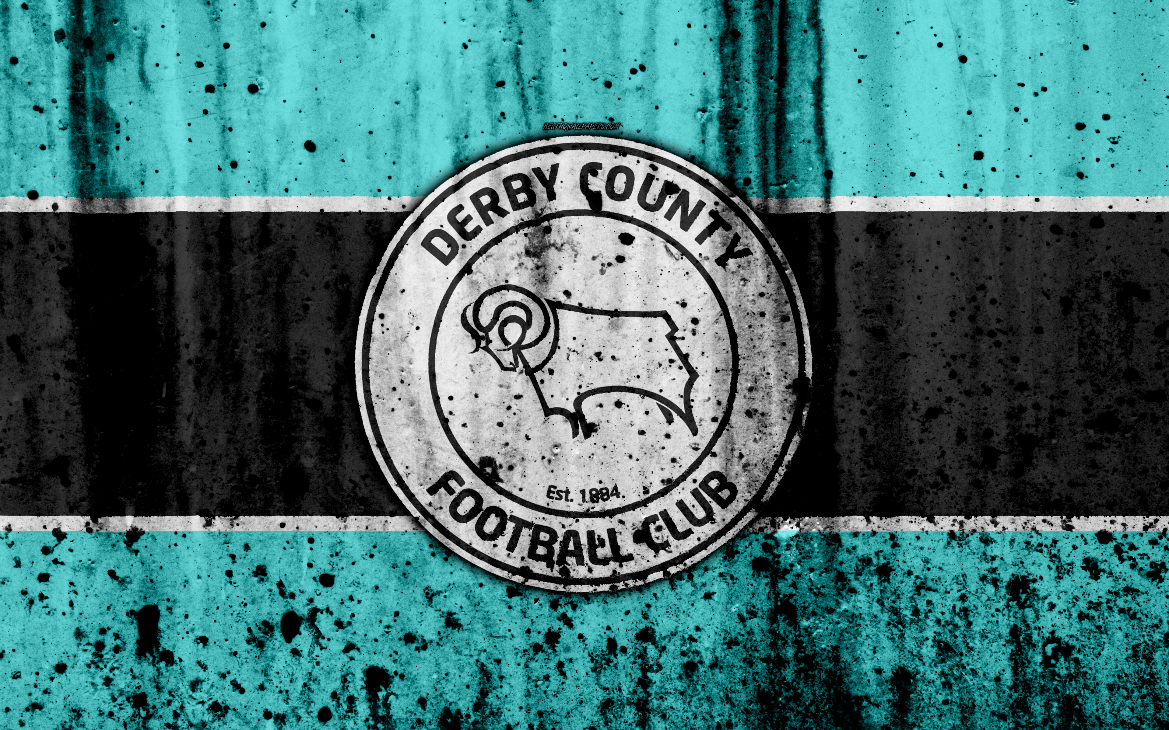 Download Wallpapers 4k, FC Derby County, Grunge, EFL