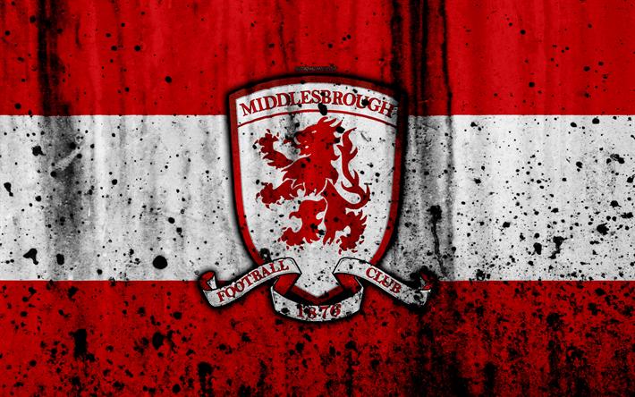 Download Wallpapers 4k, FC Middlesbrough, Grunge, EFL