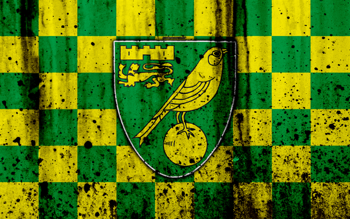 Download Wallpapers 4k, FC Norwich City, Grunge, EFL
