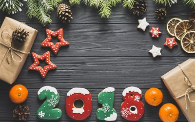 New Year, 2018, cookies, Christmas tree, tangerines, Happy New Year