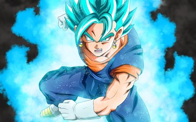 4k, Goku, Dragon Ball, blue hair, Son Goku, DBZ