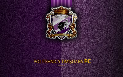 ACS Poli Timisoara, FC Politehnica Timisoara, logo, leather texture, 4k, Romanian football club, Liga I, First League, Timisoara, Romania, football