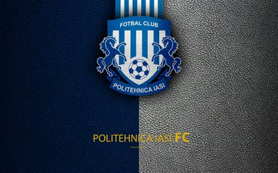 CSM Politehnica Iasi, logo, leather texture, 4k, Romanian football club, Liga I, First League, Iasi, Romania, football