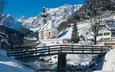 St Sebastian Church, Ramsau, winter, mountains, snow, Ramsauer Ache River, Bavarian Alps, Bavaria, Germany