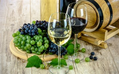 white wine, glasses of wine, wooden barrel, red wine, grapes