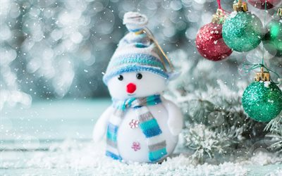 Snowman, winter, snow, Christmas, New Year, cute toy