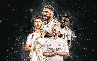 Karim Benzema, Vinicius Junior, Eden Hazard, Marco Asensio, Sergio Ramos, 4k, Real Madrid FC, football stars, La Liga, Real Madrid team, white neon lights, soccer, Real Madrid CF