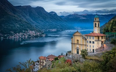 Como, 4k, italian cities, mountains, lake, Italy, Europe, beautiful nature