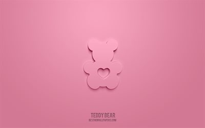 Teddy Bear 3d icon, pink background, 3d symbols, Teddy Bear, Love icons, 3d icons, Teddy Bear sign, Love 3d icons