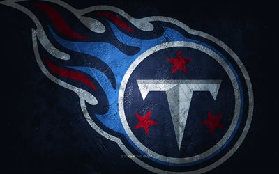 Tennessee Titans, American football team, blue stone background, Tennessee Titans logo, grunge art, NFL, American football, USA, Tennessee Titans emblem