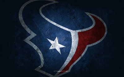 Houston Texans, American football team, blue stone background, Houston Texans logo, grunge art, NFL, American football, USA, Houston Texans emblem