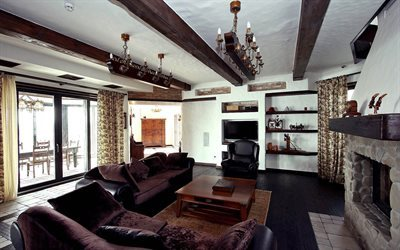 Country house, villa, chalet style, fireplace
