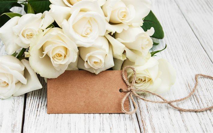Descargar Fondos De Pantalla Rosas Blancas Tarjeta Etiqueta Rosas