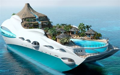 Future ships, luxury yacht, tropical island yacht, 3d yacht sea