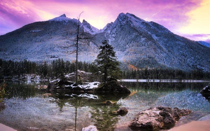 Scarica sfondi inverno montagne tramonto lago di for Immagini per desktop inverno