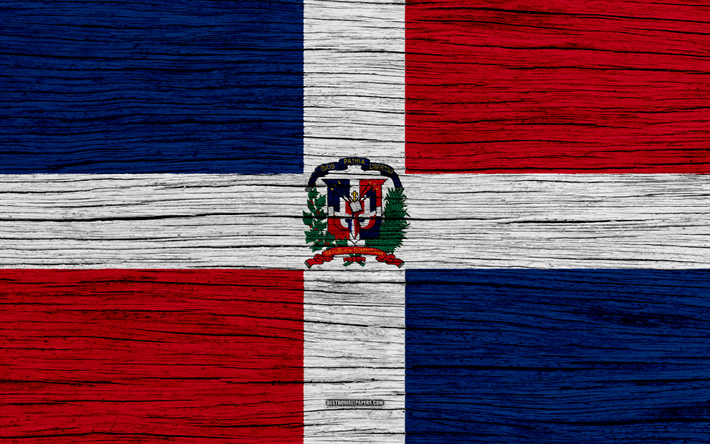 Flag Of Dominican Republic 4k North America Wooden Texture National Symbols