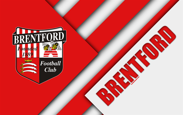 Download wallpapers Brentford FC, logo, red white ...
