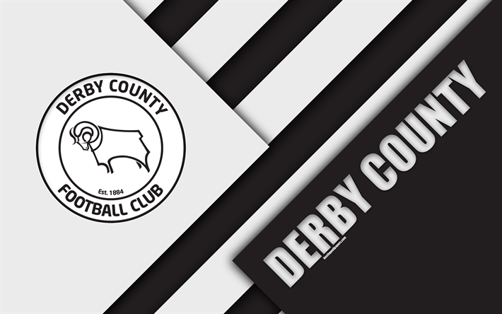 Download Wallpapers Derby County FC, Logo, 4k, Black And