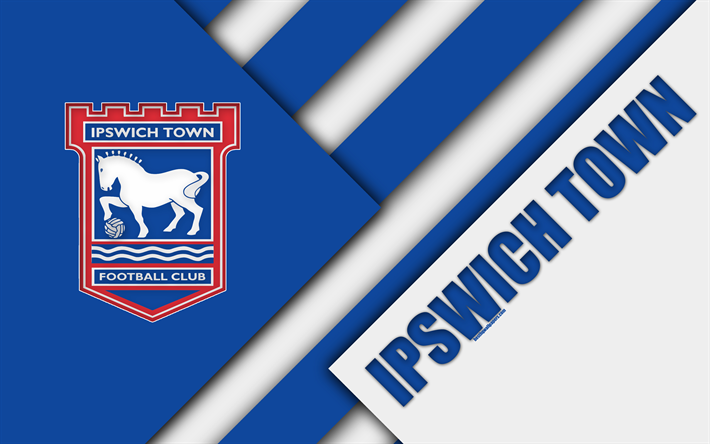 Download Wallpapers Ipswich Town FC, Logo, 4k, Blue White