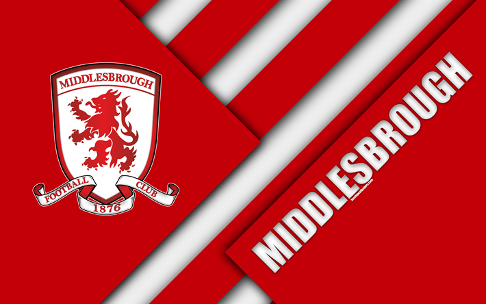 Download Wallpapers Middlesbrough FC, Logo, 4k, Red