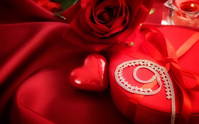 love concepts, gifts, Valentines Day, February 14, red heart, red rose