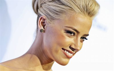 Amber Heard, portrait, smile, american actress, hollywood star, blondes