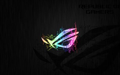 4k, RoG, neon logo, black background, Republic of Gamers, abstract art, RoG logo, ASUS, creative