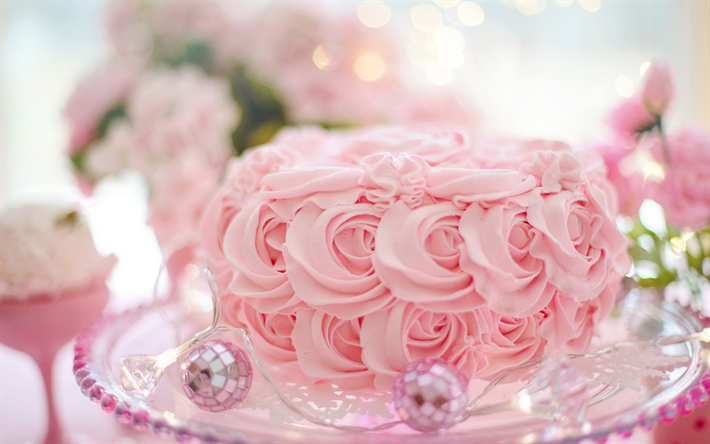 wedding pink cake, pink cream roses, decoration, wedding concepts, cakes, sweets