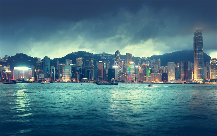 Hong Kong, China, Chinese metropolis, skyscrapers, bay, evening, sunset, business centers