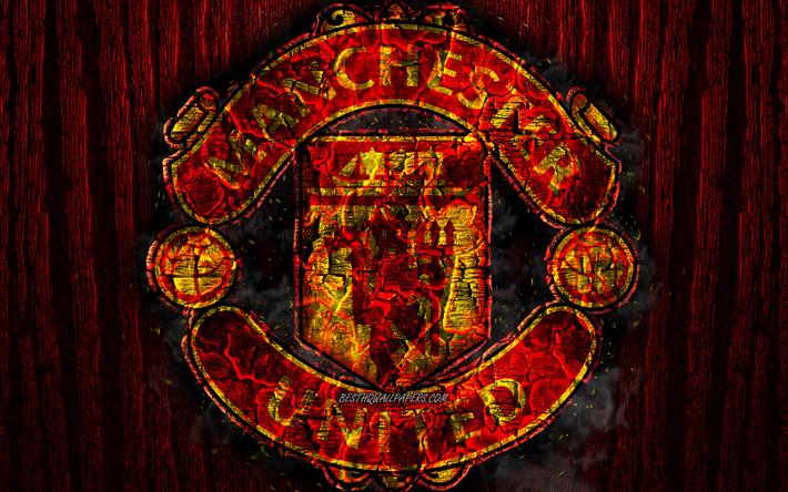 Herunterladen Hintergrundbild Manchester United Fc Verbrannten Logo Premier League Rote Holz Hintergrund English Football Club Grunge Man United Fussball Fussball Manchester United Logo Feuer Textur England Manchester Utd Fur Desktop