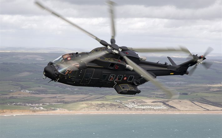 AgustaWestland AW101, military transport helicopter, flying, black helicopter, HH-101A, AW-101