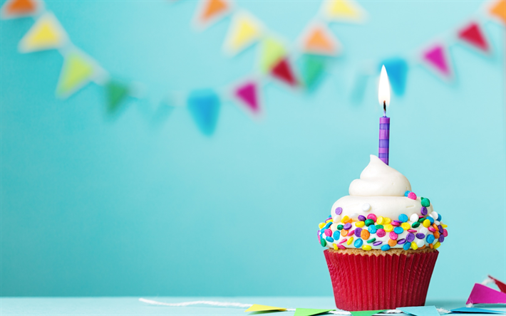 Download Wallpapers Happy Birthday, Cake, Burning Candle